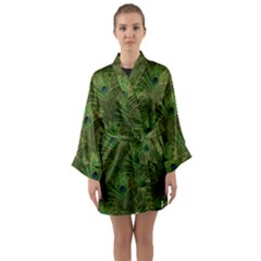 Peacock Glitter Feather Pattern Long Sleeve Kimono Robe by tarastyle