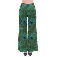 Peacock Glitter Feather Pattern So Vintage Palazzo Pants by tarastyle