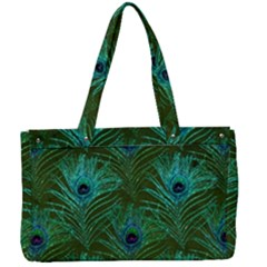Peacock Glitter Feather Pattern Canvas Work Bag by tarastyle