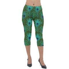Peacock Glitter Feather Pattern Lightweight Velour Capri Leggings  by tarastyle