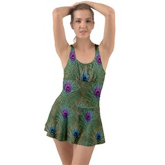 Peacock Glitter Feather Pattern Ruffle Top Dress Swimsuit by tarastyle