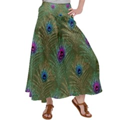 Peacock Glitter Feather Pattern Satin Palazzo Pants by tarastyle