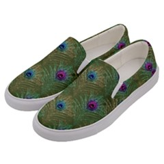 Peacock Glitter Feather Pattern Men s Canvas Slip Ons by tarastyle