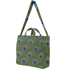 Peacock Glitter Feather Pattern Square Shoulder Tote Bag by tarastyle