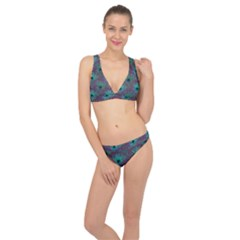 Peacock Glitter Feather Pattern Classic Banded Bikini Set  by tarastyle