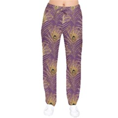 Peacock Glitter Feather Pattern Velvet Drawstring Pants by tarastyle