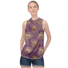 Peacock Glitter Feather Pattern High Neck Satin Top by tarastyle