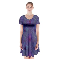 Peacock Glitter Feather Pattern Short Sleeve V Neck Flare Dress by tarastyle