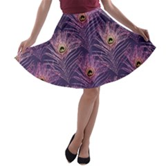 Peacock Glitter Feather Pattern A Line Skater Skirt by tarastyle