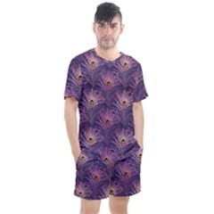 Peacock Glitter Feather Pattern Men s Mesh Tee And Shorts Set by tarastyle