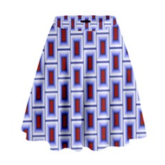 Abstract Square Illustrations Background High Waist Skirt