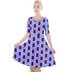 Abstract Square Illustrations Background Quarter Sleeve A Line Dress