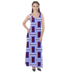 Abstract Square Illustrations Background Sleeveless Velour Maxi Dress