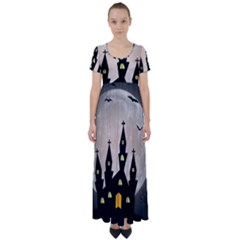 Halloween Illustration Decoration High Waist Short Sleeve Maxi Dress by Pakrebo