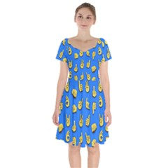 Emojis Hands Fingers Background Short Sleeve Bardot Dress