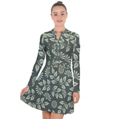 Flowers Pattern Spring Nature Long Sleeve Panel Dress