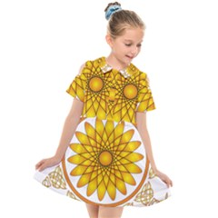 Rosette Model Ornament Braid Kids  Short Sleeve Shirt Dress