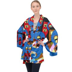 Creativeness Art Illustration Velvet Kimono Robe