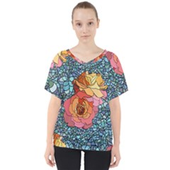 Pattern Rose Yellow Background V Neck Dolman Drape Top