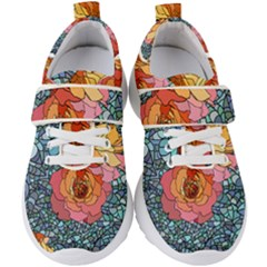Pattern Rose Yellow Background Kids  Velcro Strap Shoes
