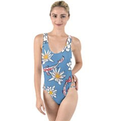 Koi Pattern Japanese Background High Leg Strappy Swimsuit