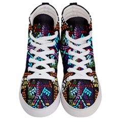Mosaic Window Rosette Church Glass Women s Hi Top Skate Sneakers