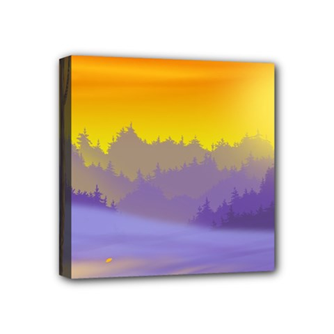 Vector Illustration Winter Sunset Mini Canvas 4  X 4  (stretched) by Pakrebo