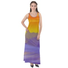 Vector Illustration Winter Sunset Sleeveless Velour Maxi Dress
