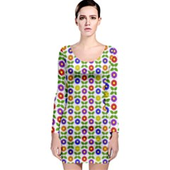 Flowers Colors Colorful Flowering Long Sleeve Bodycon Dress