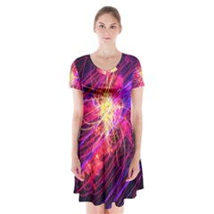 Abstract Cosmos Space Particle Short Sleeve V Neck Flare Dress