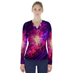 Abstract Cosmos Space Particle V Neck Long Sleeve Top