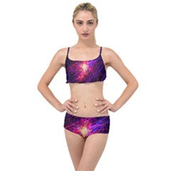 Abstract Cosmos Space Particle Layered Top Bikini Set