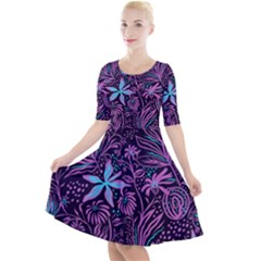 Stamping Pattern Leaves Drawing Quarter Sleeve A Line Dress