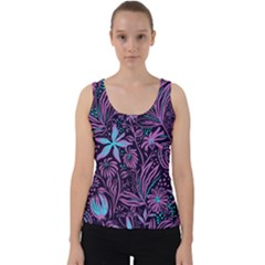 Stamping Pattern Leaves Drawing Velvet Tank Top