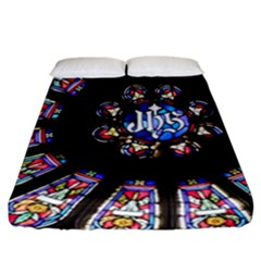 Rosette Stained Glass Window Church Fitted Sheet (california King Size) by Pakrebo