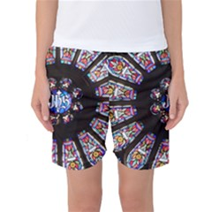 Rosette Stained Glass Window Church Women s Basketball Shorts by Pakrebo