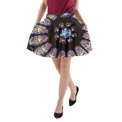 Rosette Stained Glass Window Church A Line Pocket Skirt