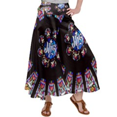 Rosette Stained Glass Window Church Satin Palazzo Pants