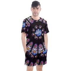 Rosette Stained Glass Window Church Men s Mesh Tee And Shorts Set