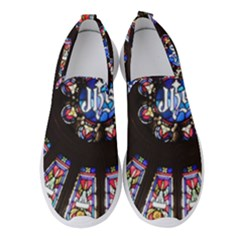Rosette Stained Glass Window Church Women s Slip On Sneakers