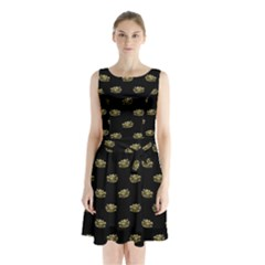 Dragon Head Motif Pattern Design Sleeveless Waist Tie Chiffon Dress