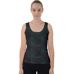 Deep Green Leaf Velvet Tank Top by SusanFranzblau