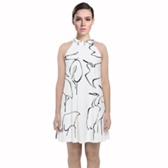 Katsushika Hokusai, Egrets From Quick Lessons In Simplified Drawing Velvet Halter Neckline Dress  by Valentinaart