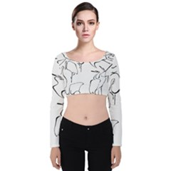 Katsushika Hokusai, Egrets From Quick Lessons In Simplified Drawing Velvet Long Sleeve Crop Top by Valentinaart