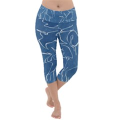 Katsushika Hokusai, Egrets From Quick Lessons In Simplified Drawing Lightweight Velour Capri Yoga Leggings