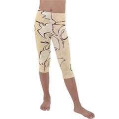 Katsushika Hokusai, Egrets From Quick Lessons In Simplified Drawing Kids  Lightweight Velour Capri Leggings  by Valentinaart
