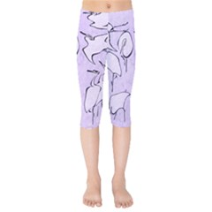 Katsushika Hokusai, Egrets From Quick Lessons In Simplified Drawing Kids  Capri Leggings  by Valentinaart