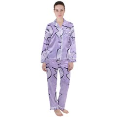 Katsushika Hokusai, Egrets From Quick Lessons In Simplified Drawing Satin Long Sleeve Pyjamas Set by Valentinaart