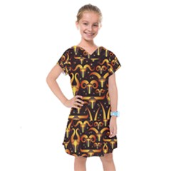 Stylised Horns Black Pattern Kids  Drop Waist Dress