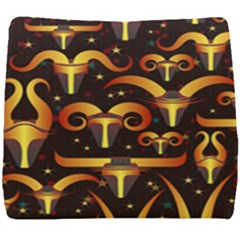 Stylised Horns Black Pattern Seat Cushion by HermanTelo